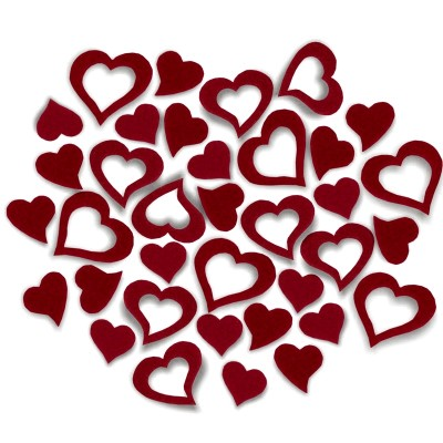 Streudeko Herzen aus Filz 5 g bordeaux (VE: 24 Beutel)