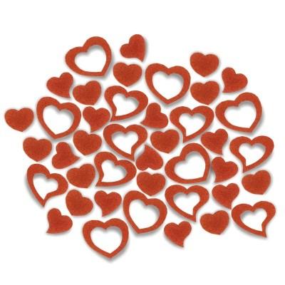 Streudeko Herzen aus Filz 5 g orange (VE: 24 Beutel)