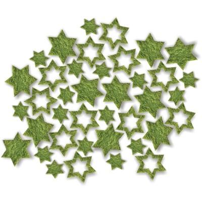 Streudeko Sterne aus Filz 15 g moosgrün (24 Beutel)