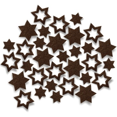Streudeko Sterne aus Filz 15 g schokobraun (VE: 24 Beutel)