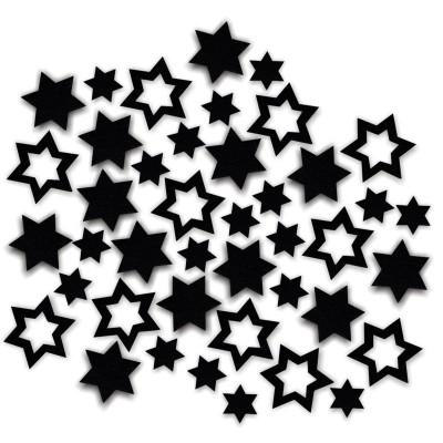 Streudeko Sterne aus Filz 15 g schwarz (VE: 24 Beutel)