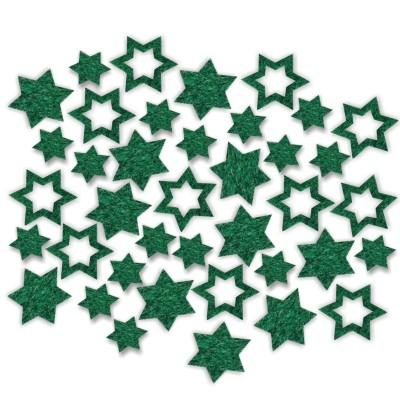 Streudeko Sterne aus Filz 15 g tannengrün (VE 24 Beutel)