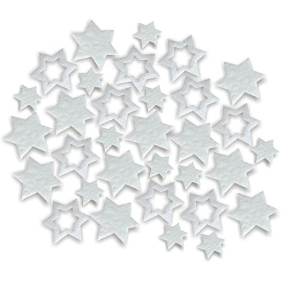 Streudeko Sterne aus Filz 15 g weiss (VE: 24 Beutel)