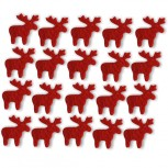 Streudeko Rentiere aus Filz 15 g rot (VE: 24 Beutel)