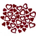 Streudeko Herzen aus Filz 25 g bordeaux (VE: 20 Beutel)